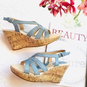 b.o.c.  Blue Wedge Sandals